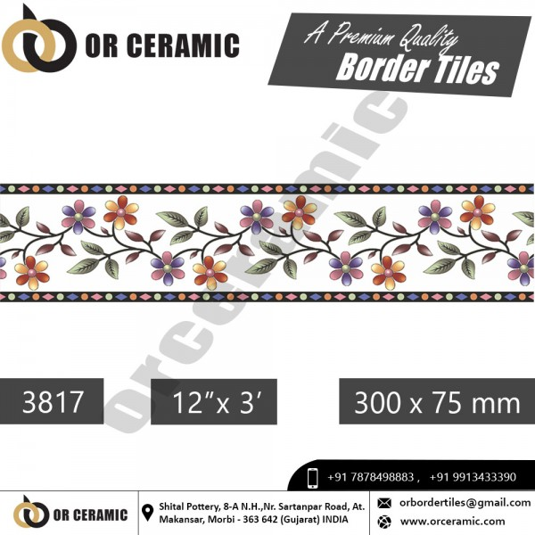 3817 Digital Border Tiles | OR Ceramic Morbi